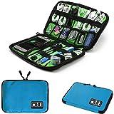 Electronics Accessories Organizer Bag,Portable Tech Gear Phone Accessories Storage Carrying Travel Case Bag, Headphone Earphone Cable Organizer Bag (Blue)