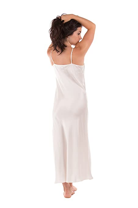f75c06c989 White Silk Long Nightgown for Women - Swans and Daffodils (Small) - Beautiful  Anniversary Romantic Lingerie Clothing  Cool Gifts Presents Women Her  Creative ...