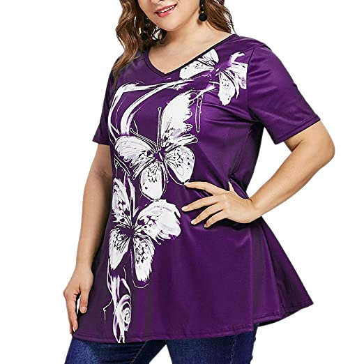 324922d3b80 Image Unavailable. Image not available for. Color  GOVOW V-Neck Tops for  Women Plus Size Short Sleeve Butterfly Print T-Shirt