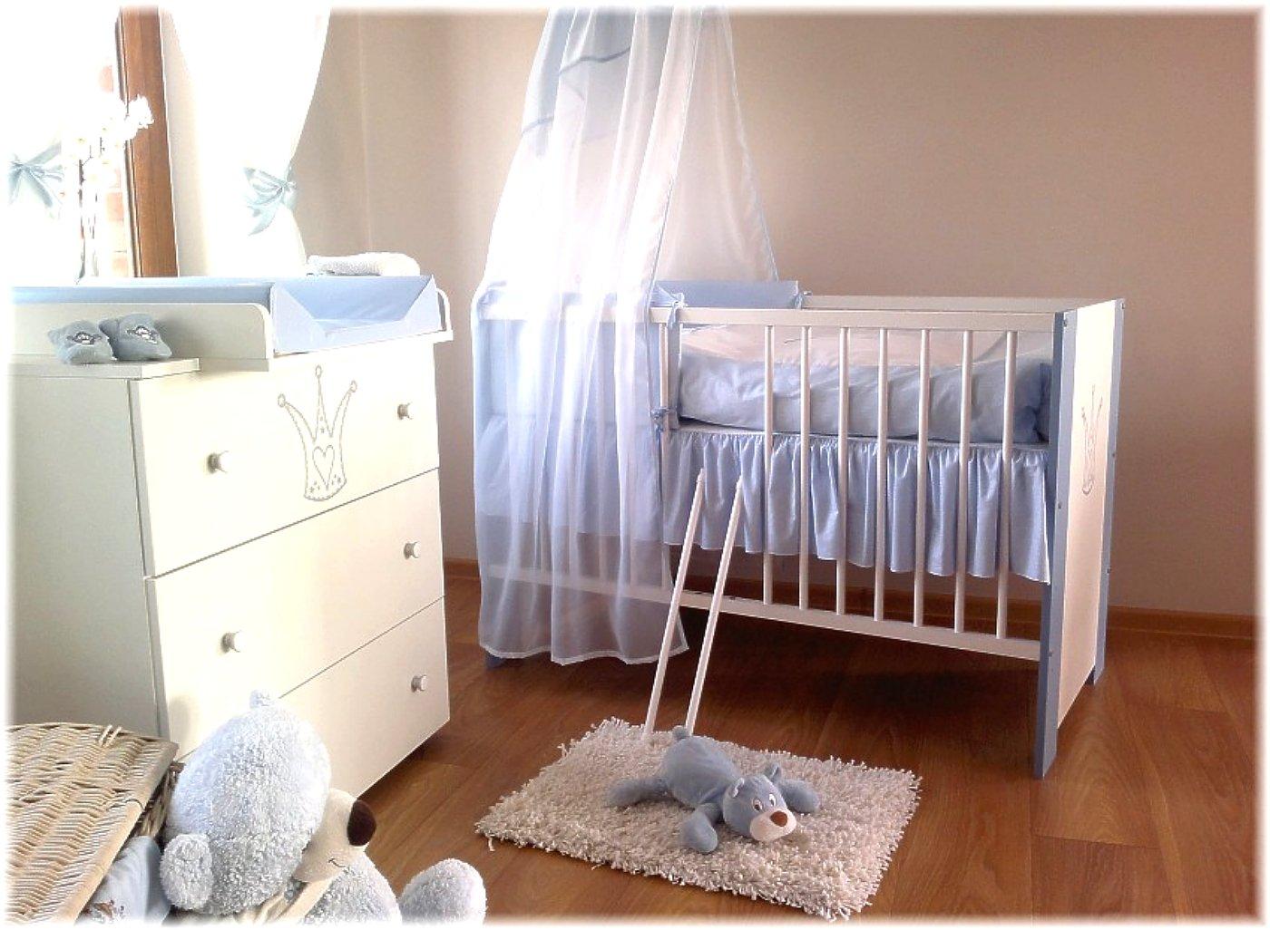 Wickelkommode Lattenrost KinderbettBaby-Krone blau incl Bettw/äsche Komplettset 12 Teile Matratze