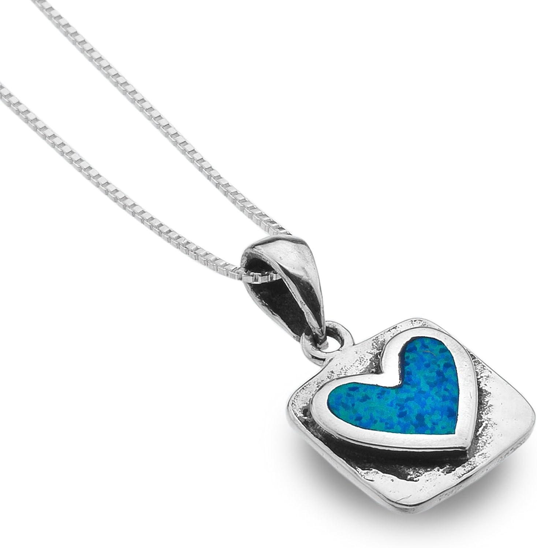 Sea Gems de plata de ley cuadrados con colgante de corazón azul de ópalo 18