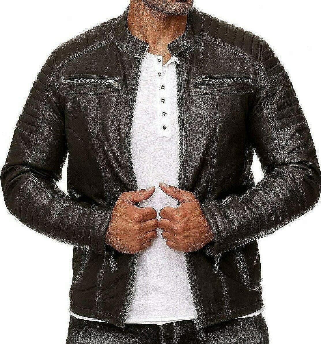 Men/'s Vintage Cafe Racer Brown Genuine Real Leather Slim Fit Real Biker Jacket
