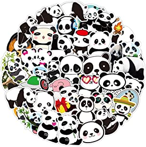 Panda Stickers 50 PCS Waterproof Vinyl Animal Stickers Bulk for Water Bottles Laptop Hydroflasks Cars Phone Case, Kids Panda Stickers and Decals Party Favors