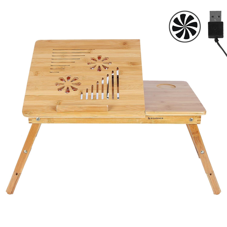 Amazon SONGMICS Bamboo Laptop Desk with USB Fan Breakfast