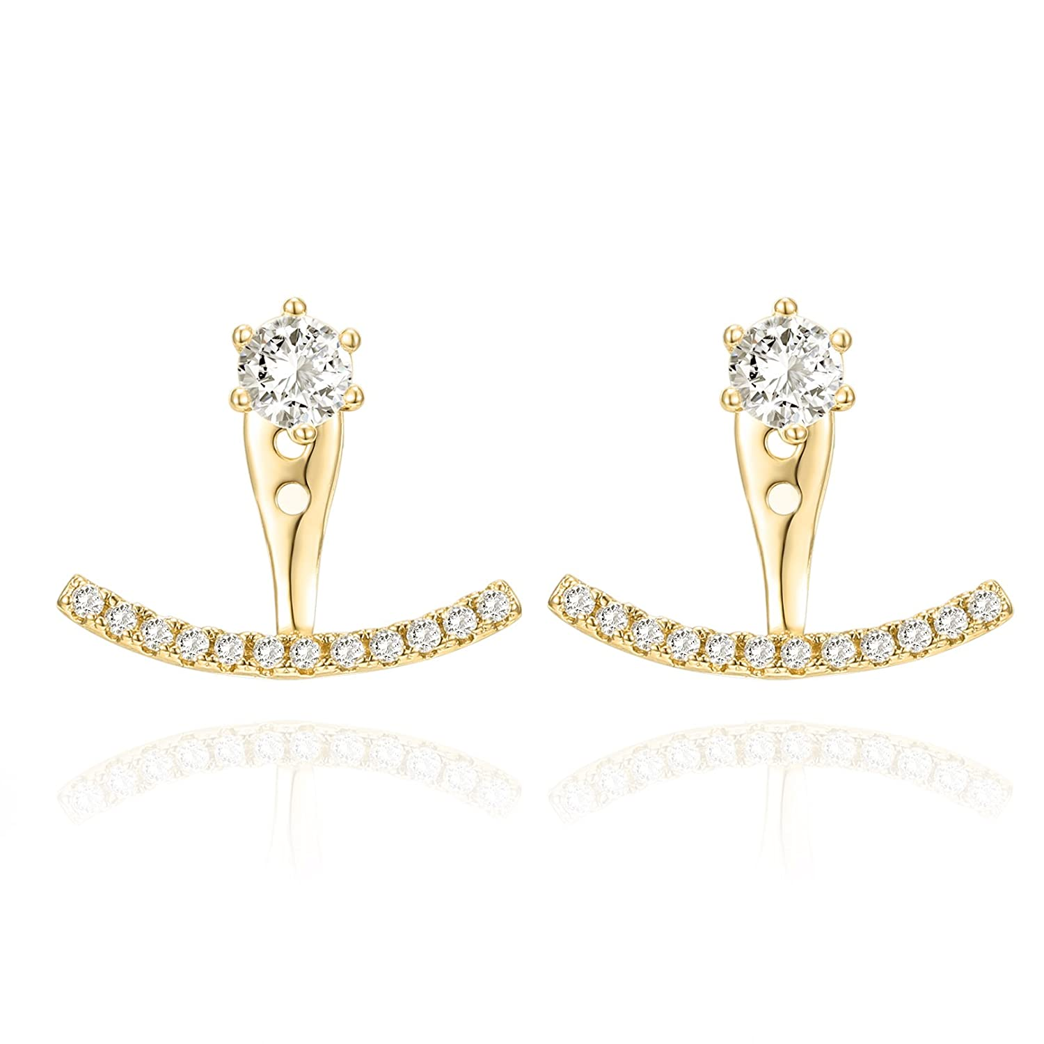 PAVOI 14K Gold Plated Sterling Silver Post Ear Jacket Cubic Zirconia Stud Earrings with Huggie Crawler Enhancer