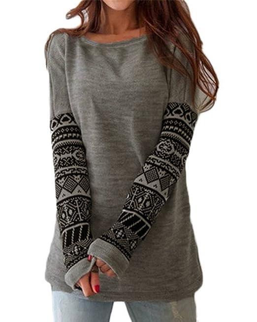 Sudaderas Mujer Manga Larga Cuello Redondo Elegantes Vintage Hippie Basic Ropa Estampadas Moda Casual Sweatshirt Camisetas T-Shirt Top Ropa: Amazon.es: Ropa ...