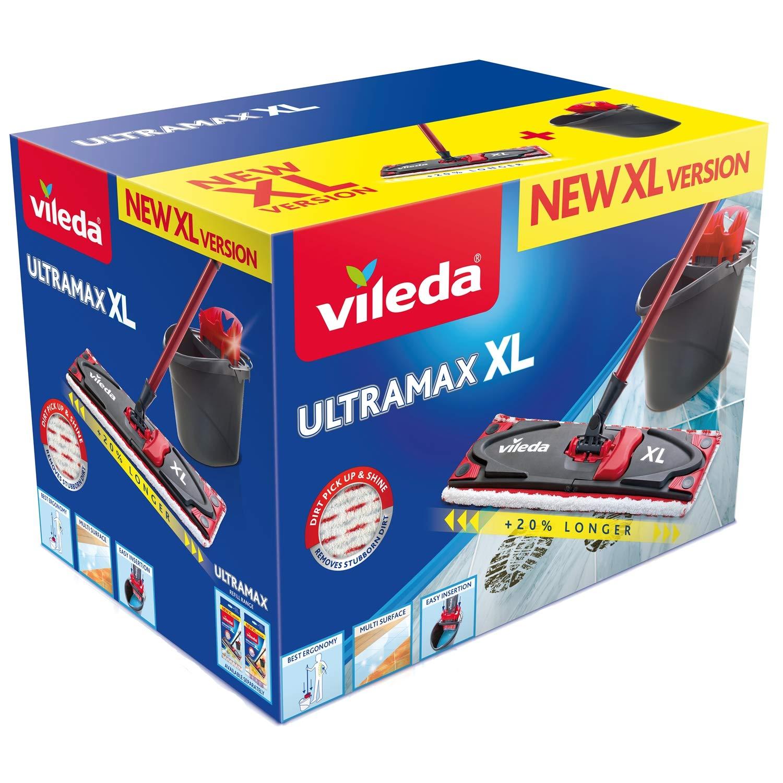 Vileda Ultramax Mocio Set Completo XL 42 cm Nuova Versione XL Rivestimento in Microfibra e Secchio con Powerpress.