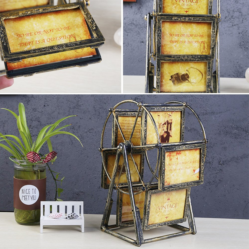 XBEEK Rotating Ferris Wheel Photo Frame, 12 Photos Shows For 3.5x5in Photographs, Vintage Retro Picture Frame, Multiple Picture Frames With Glass Front, Fit for Stands Vertically on Desk Table Top by XBEEK (Image #3)