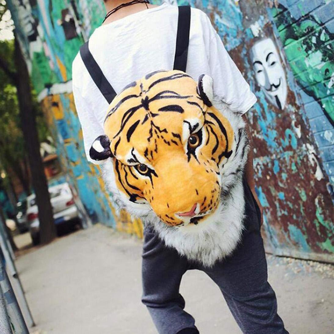 Funny Kids School Bag Simulation 3D Animal Head Zipper Double Shoulder Bag Backpack (Tiger)
