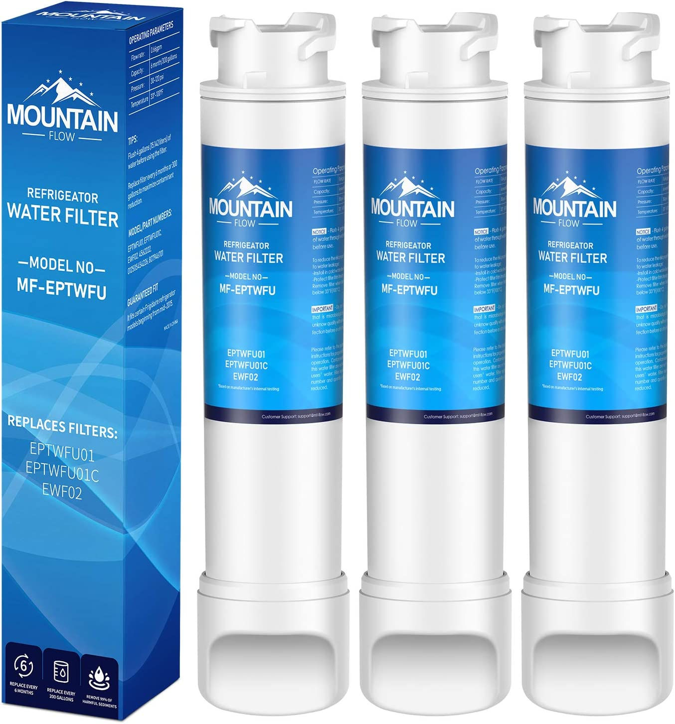 Mountain Flows EPТWFU01 Compatible EPТWFU01C, Puresource Ultra II, Puresource Ultra 2 Refrigerator Water Filter and Ice Filter,water filter 3pack