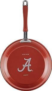 "College Kitchen Collection, 10"" Aluminum Skillet, Crimson with Alabama Crimson Tide Team Logo"