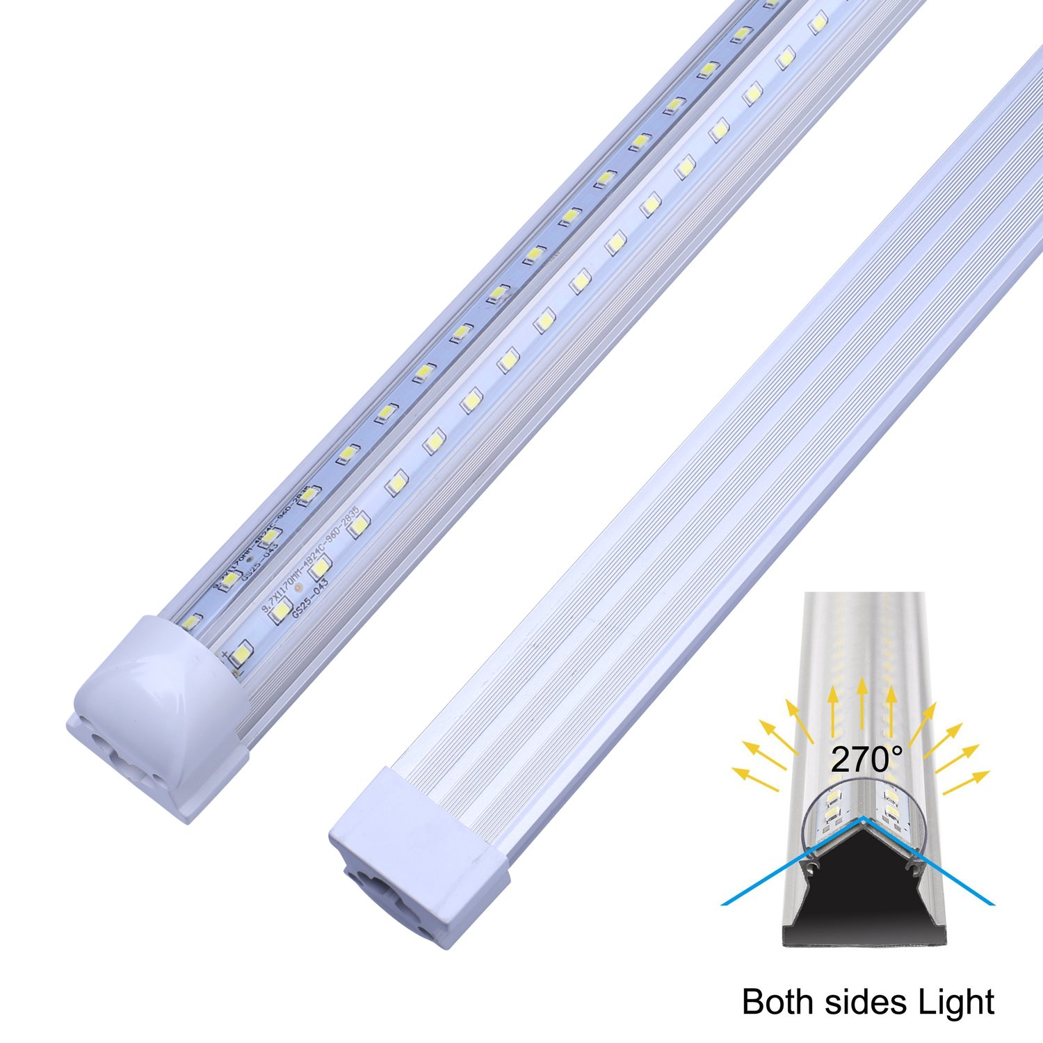 V Shape Integrated LED Tube Light, 8FT 72W (150W Fluorescent Equivalent), Works Without T8 Ballast, Plug and Play, Clear Lens Cover, Cold White 6000K Pack of 4 by Jomitop (Image #3)