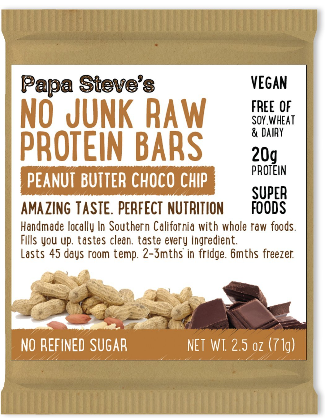 Papa Steve's No Junk Raw Protein Bars, Dairy Free Peanut Butter Choco Chip, 2.5 Oz, 10 Count