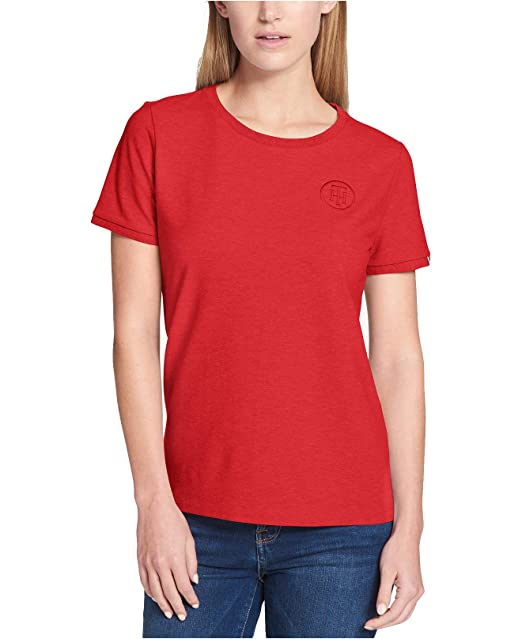e4afcd62 Tommy Hilfiger Women's Embroidered T-Shirt (Scarlet Red, Medium) at Amazon Women's  Clothing store: