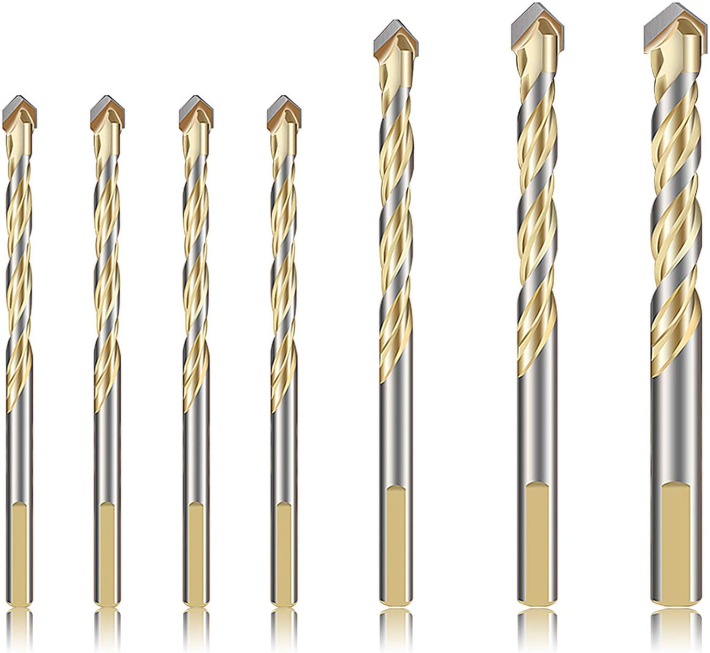 Amazon Com 7 Piece Masonry Drill Bits For Concrete Plastic Soft Metal Tile Glass Wood Yuerseak Tungsten Carbide Tip For Wall Mirror Ceramic Brick Wall With Sizes In 1 4 5 16 3 8 1 2 Inch Yg8