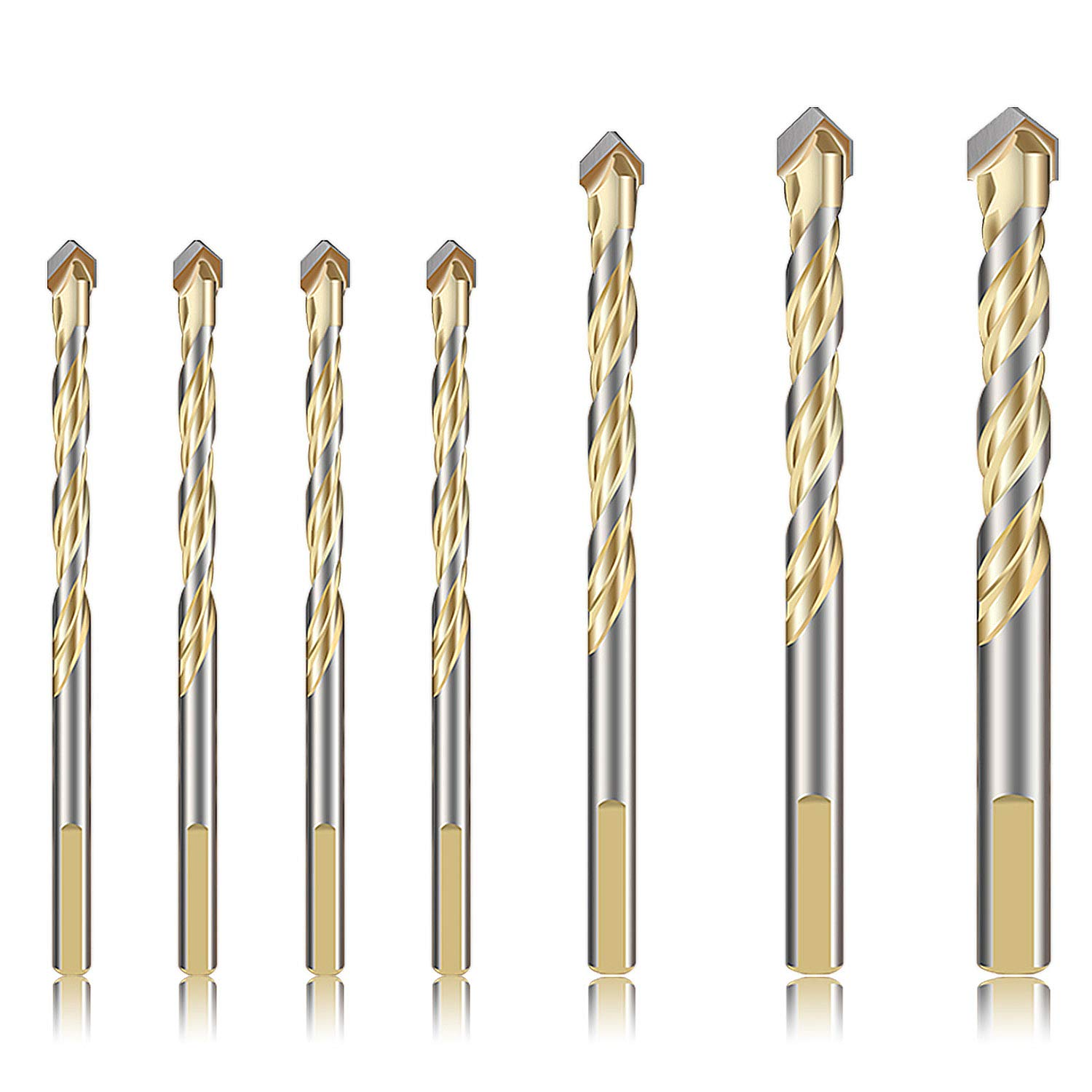 7-Piece Masonry Drill Bits Set for Metal Concrete Tile Glass Plastic Wood, YUERSEAK Tungsten Carbide Tip for Wall Mirror Ceramic Tile on Concrete and Brick Wall, YG8 Hard Alloy (Gold) 713mIz3Sj9L