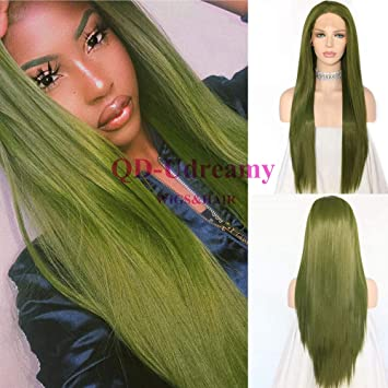 QD-Udreamy Fashion Natural Straight Green Lace Front Wigs Hand Tied Heat Resistant Synthetic Hair Wigs for Women Party Wear 24 Inch