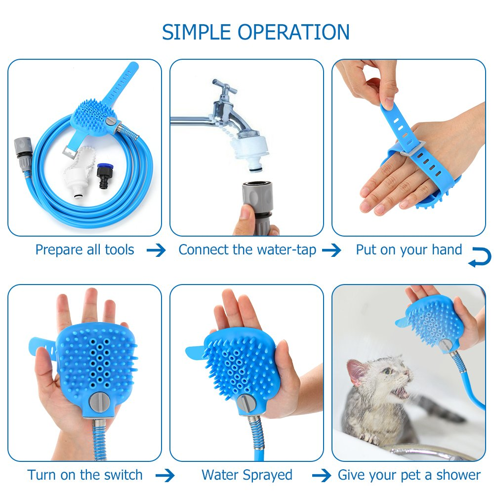 Pet Shower Sprayer Dog Bathing Tool - Shower Head & Brush in One 8.2 Ft Hose 2 Adapters, Dog Cat Horse Grooming & Massage, Dog Wash Bathtub Outdoor Use by Wonder (Image #3)