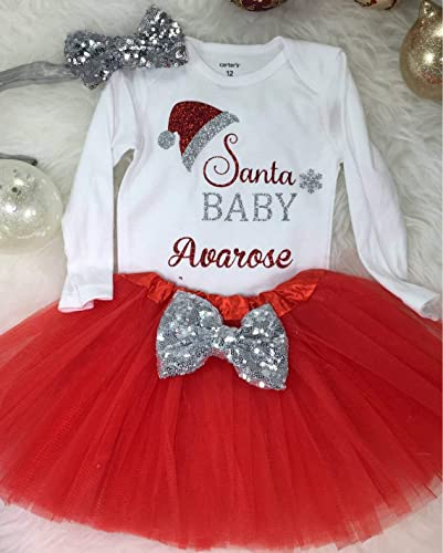 652168b6 Baby 9 MonthsChristmas Outfits for girls, Santa Baby Bodysuit, Girls  Christmas tutu, Babys