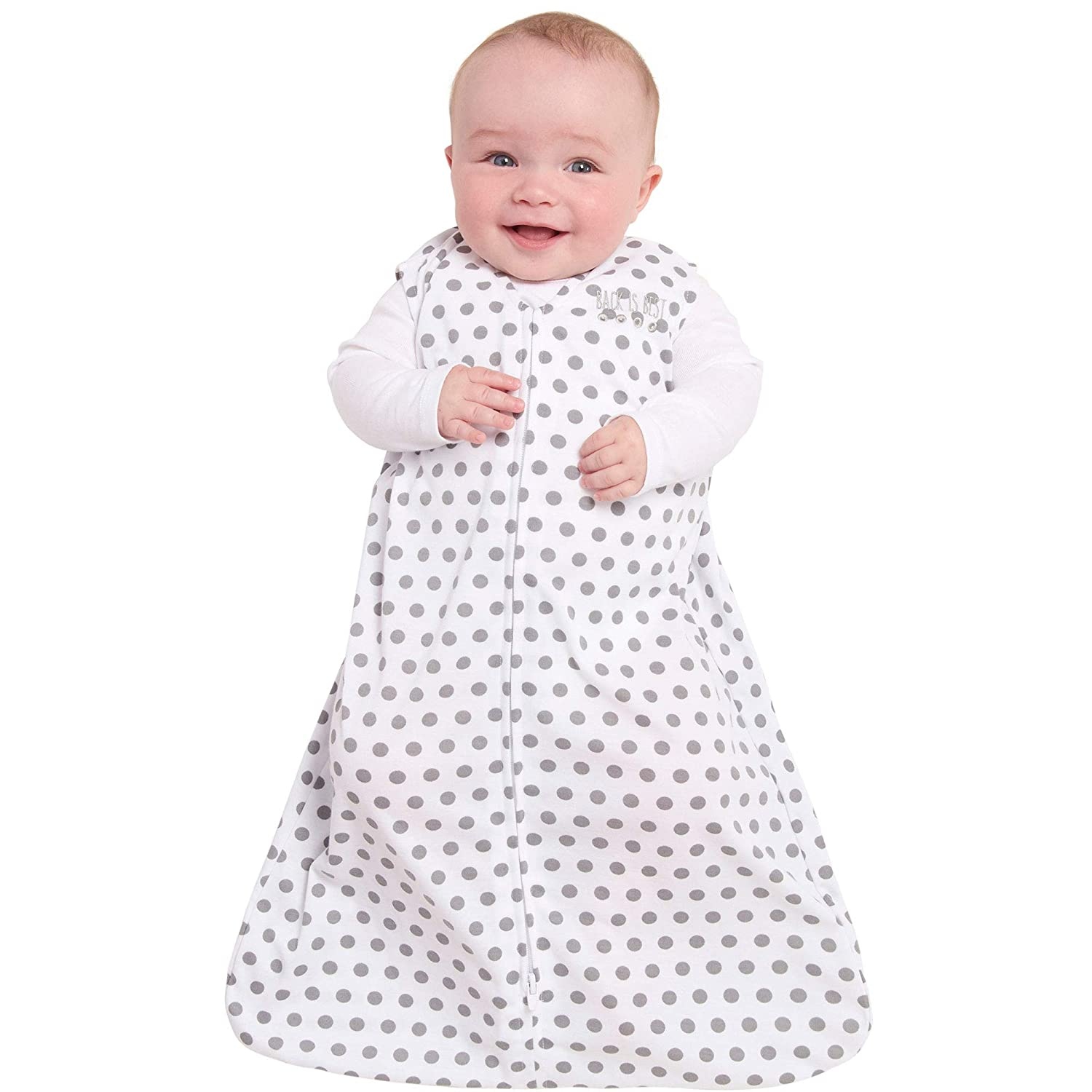 Grey Dot Small Halo Safe Dreams Poly Knit Wearable Baby Blanket