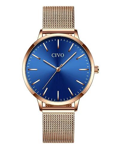 bcf4c9397d63 CIVO Relojes para Mujer de Acero Inoxidable Impermeable Relojes de Pulsera  Señoras Chicas Adolescentes Fresco Moda