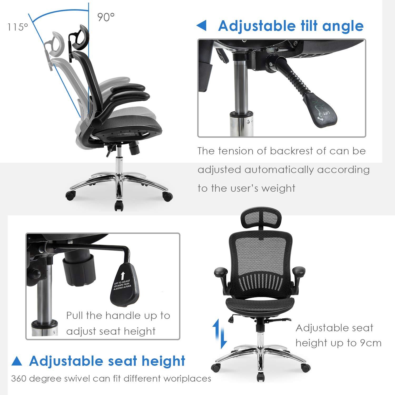 Merax Ergonomic Mesh Adjustable Home Desk Chair Office Chair Modern New Design Reclining Chair by Merax (Image #4)