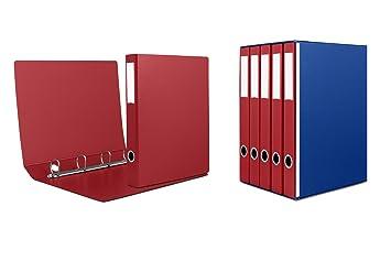 Grupo de 5 archivadores de 4 anillas lomo cm 5. portaetichette sul dorso completo de cartón para agevole División del contenido., color rojo: Amazon.es: ...