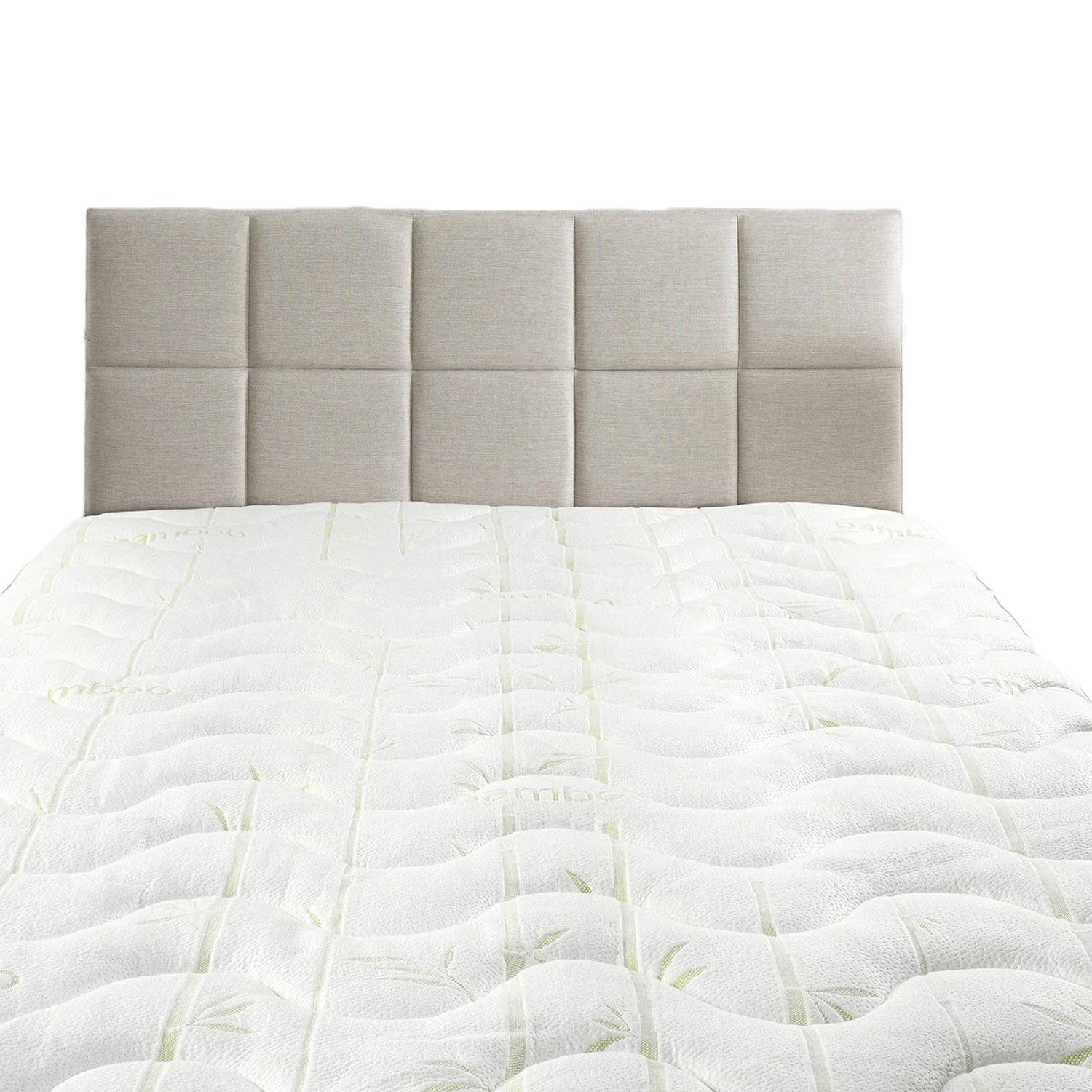 Royal Hotel Hypoallergenic Cool Bamboo Jacquard Fitted Mattress Topper Queen Size Extra Plush and Soft Mattress Pad