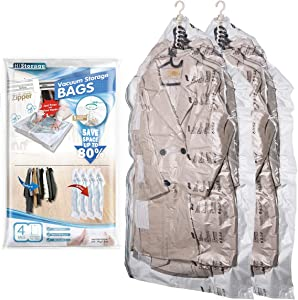Space Saver Bags, LEVERLOC Hanging Vacuum Storage Seal Clear Bags Garment Cover, Durable & Reusable Ideal for Clothes, Suits, Coats, Jackets, Dresses, Trousers, Closet Organizer