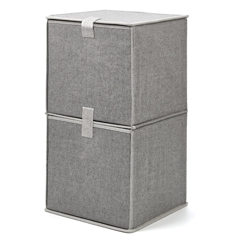 EZOWare 2-Tier Storage Organizer, Collapsible Cube Basket Bins Boxes with Pull Down Opening for Home, Nursery Home, and Office - Gray 885157983518