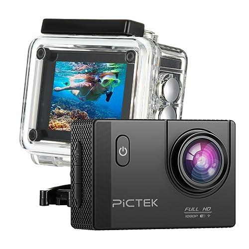 Caméra de Sport et Action, Pictek Haute Définition Full HD 1080p 12MP 30M Étanche Caméra d'Action 170 degrée Multifonction