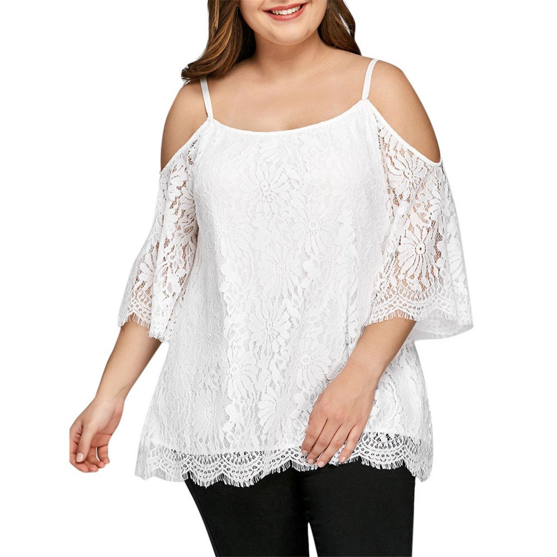 Mose Plus Size Womens T Shirts, Sexy Women Cutout Lace Cold Shoulder Long Sleeve Sweatshirt Pullover Tops Camisole Blouse Fashion Shirts New (White, L5)