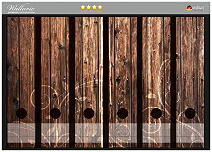 Archivadores pegatinas de madera marrón con adornos en CALIDAD - tamaño 36 x 30 cm,