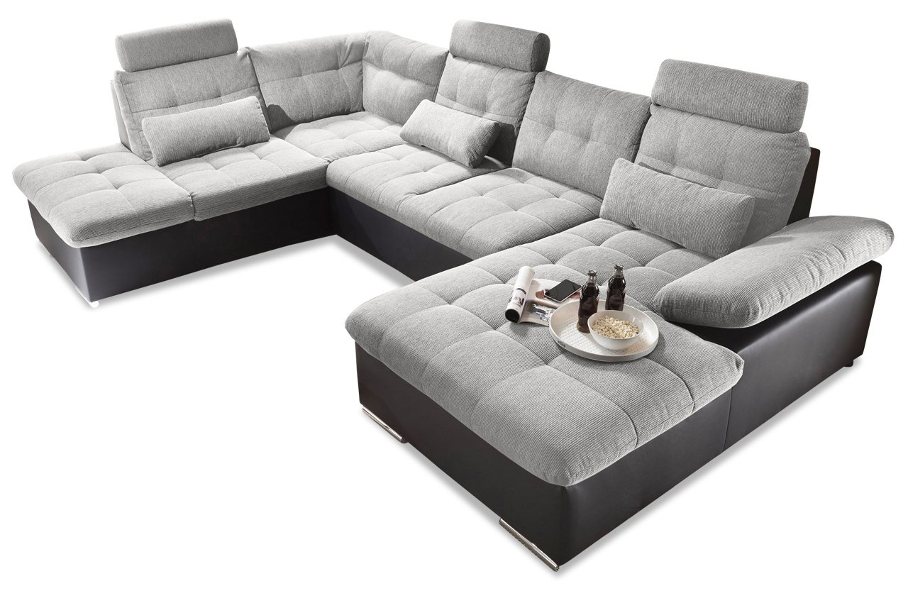 Sofa Couch Blackredwhite Wohnlandschaft Jakarta Mit Schlaffunktion