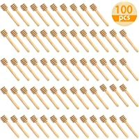 WEFOO 100 Pack Mini 3 Inch Portable Wooden Honey Dipper Sticks for Honey Jar Dispense Drizzle Honey, Wedding Party Favors