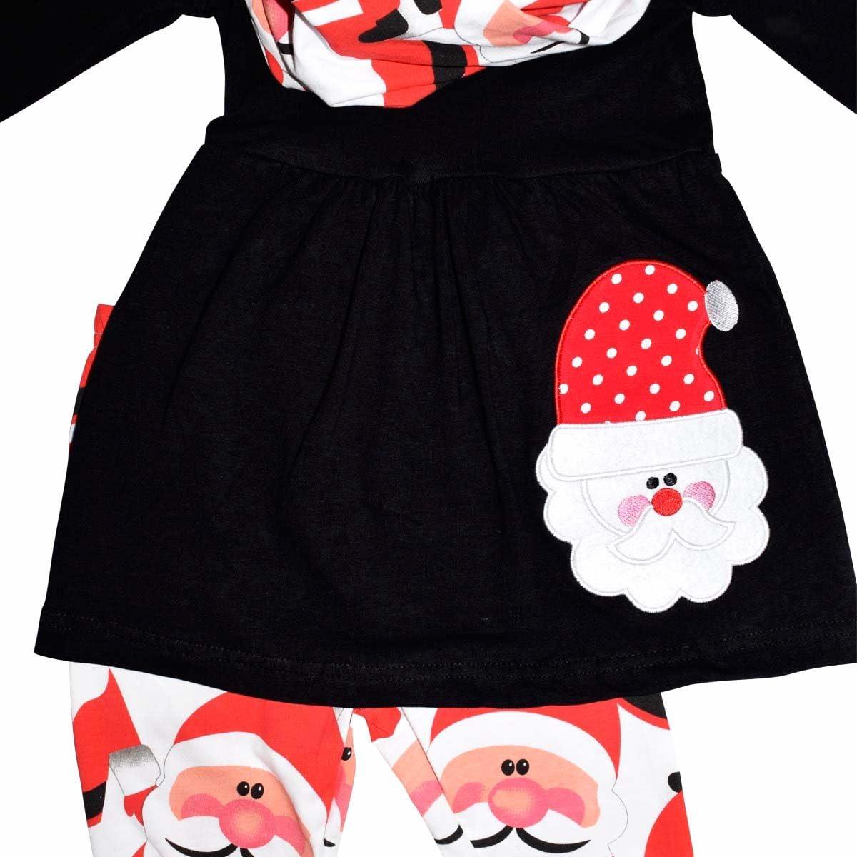 Unique Baby Girls 3 Piece Christmas Santa Claus Legging Set Red