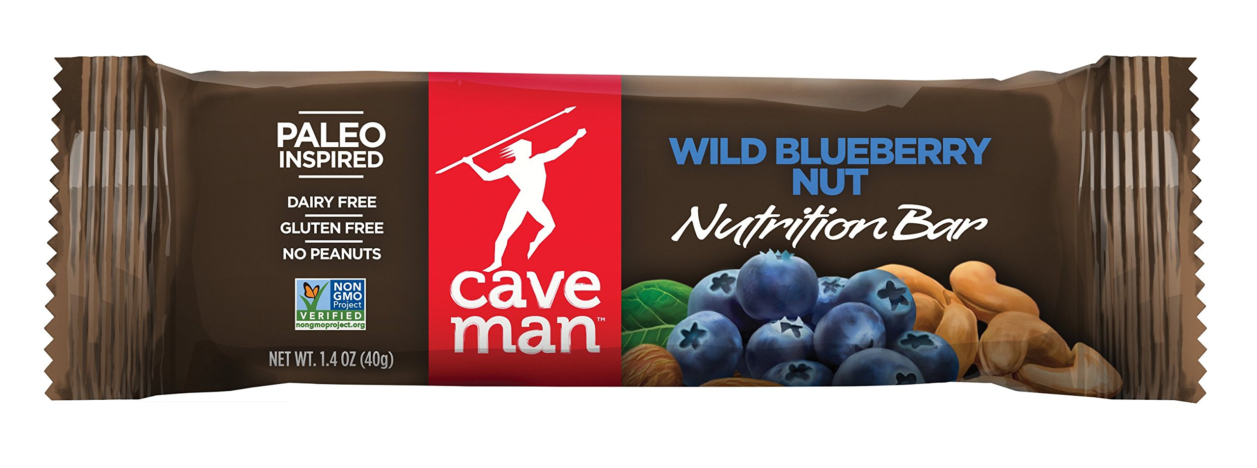 Caveman Foods Paleo-Friendly Nutrition Bar, Wild Blueberry Nut (Pack of 15)
