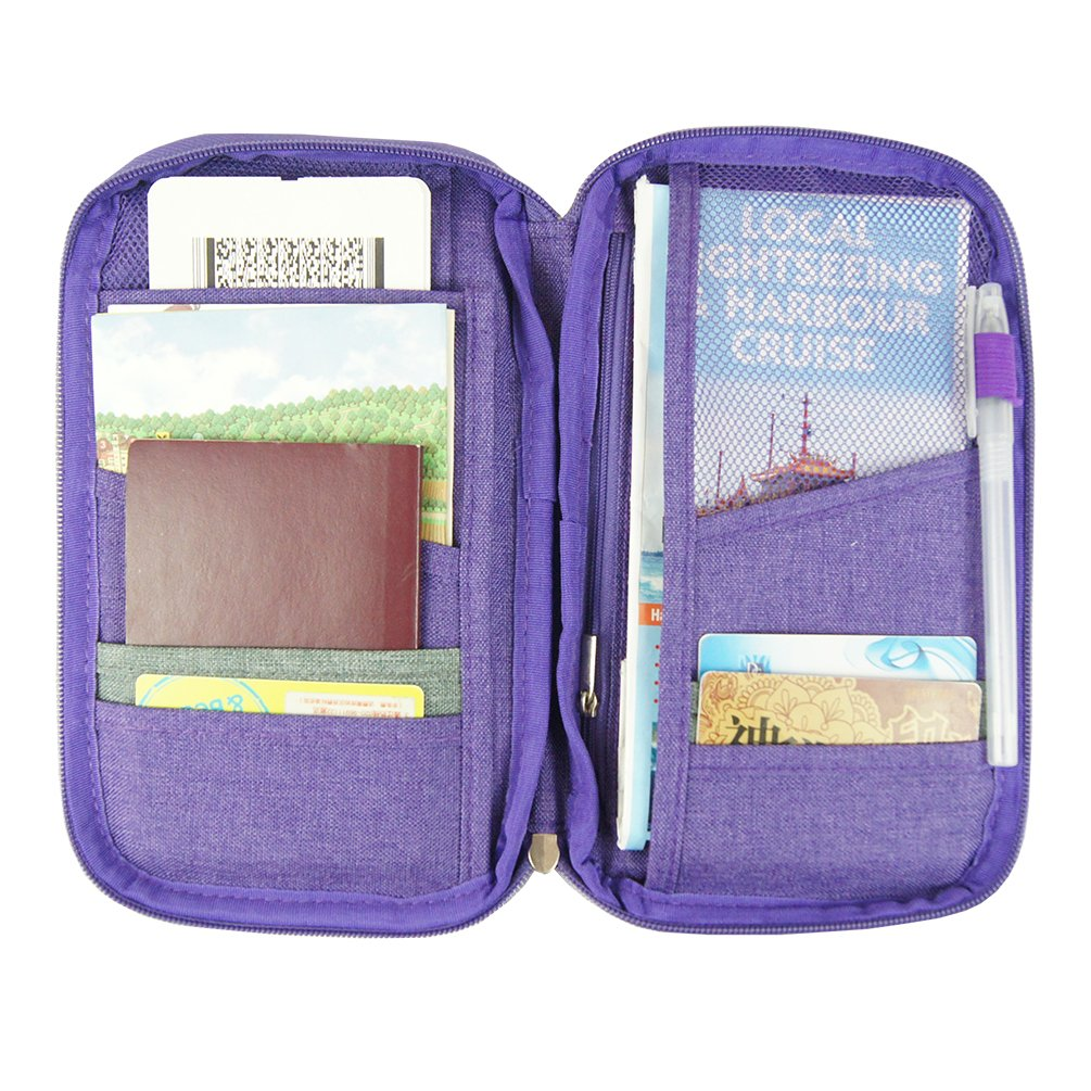 Travel Wallet Passport Holder Wallet with Wristlet for Men and Women Travelling Purple