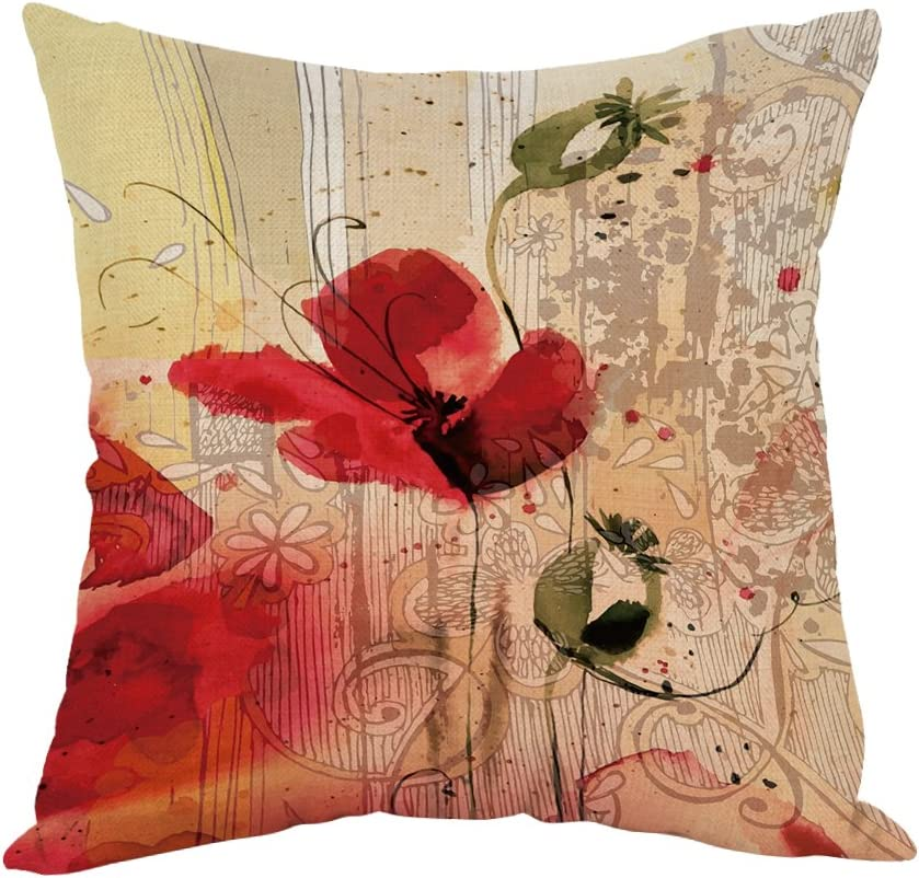Amazon Com Moslion Flower Pillow Home Decorative Throw Pillow Cover Red Poppy Flower Beige Floral Cotton Linen Cushion For Couch Sofa Bedroom Livingroom Kitchen Car 18 X 18 Inch Pillow Case Home Kitchen