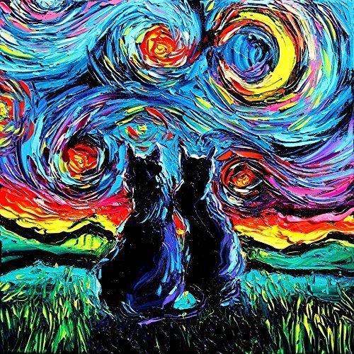 Black Cat Art - Starry Night - PRINT - van Gogh's Cats - Art by Aja 8x8, 10x10, 12x12, 20x20, 24x24 (Black Cat Art)