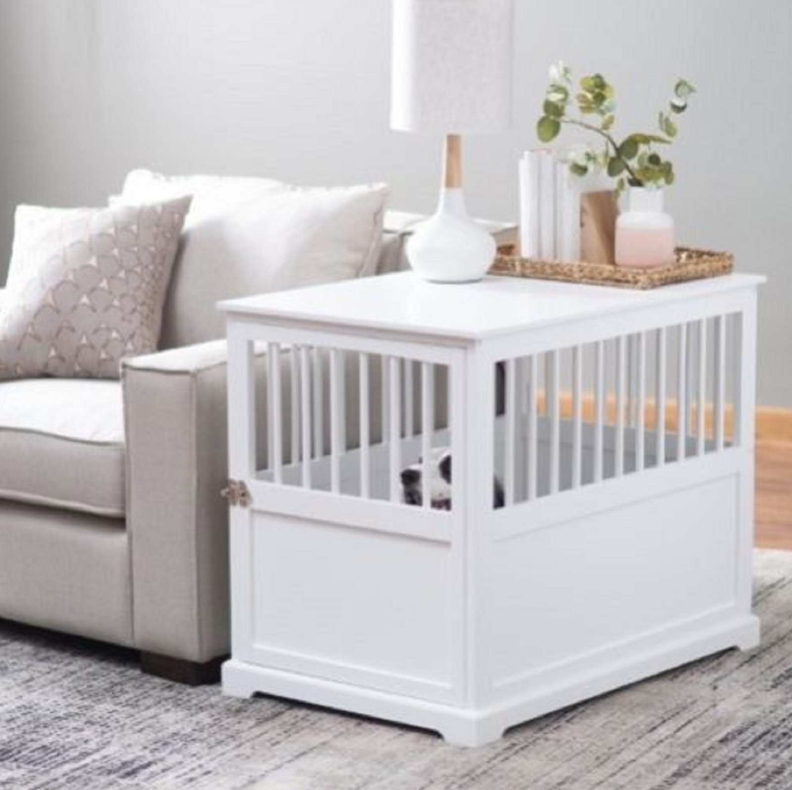 NEW! Furniture Pet Crate Dog Kennel White Medium End Table Wood Cage Puppy Bed Wooden