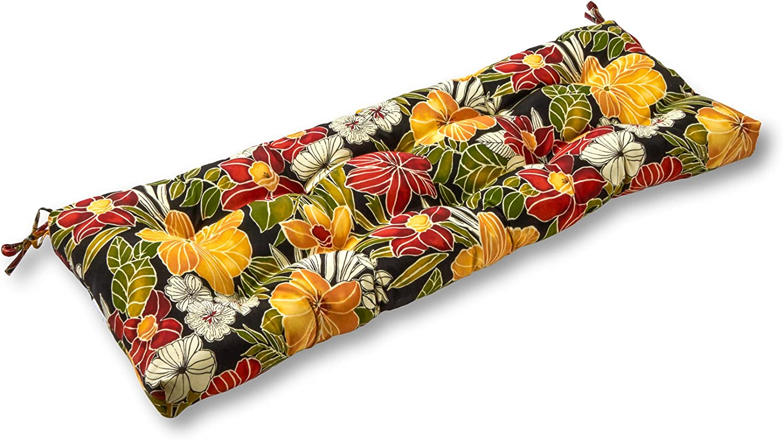 Greendale Home Fashions AZ4805-ALOHA-BLACK Aloha 44-inch Outdoor Swing/Bench Cushion