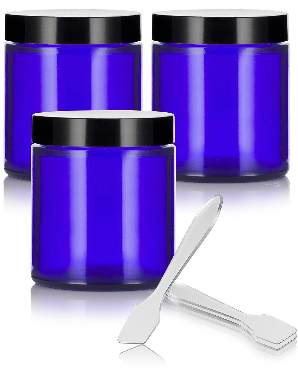 Cobalt Blue Glass Straight Sided Jars – 4 oz 120 ml 3 pack Spatulas – Airtight, Smell Proof, BPA Free Lids
