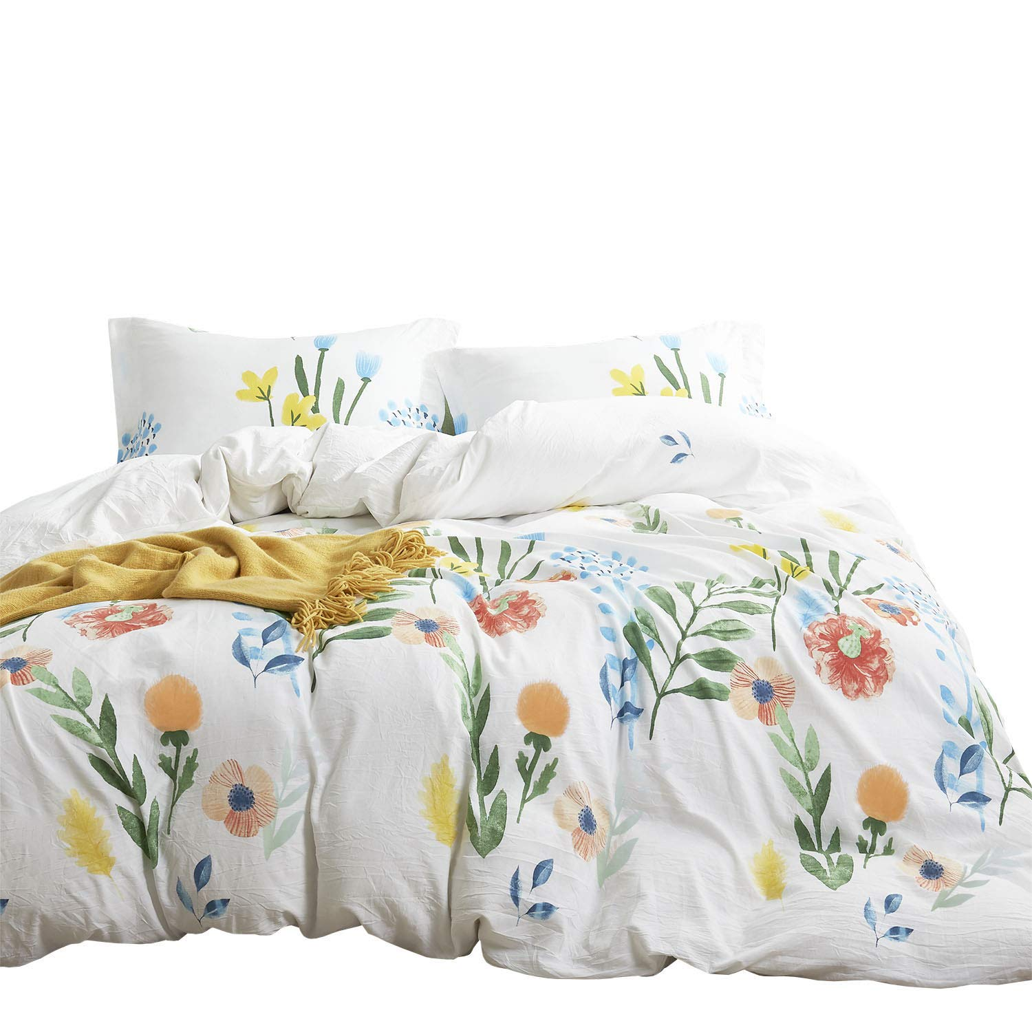 Wake In Cloud - Floral Duvet Cover Set, 100% Cotton Bedding, Colorful Watercolor Flowers Leaves Painting Printed on White, Zipper Closure (3pcs, Queen Size)