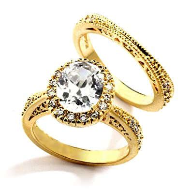3 carat grade aaaaa cz oval cut with pave engagement ring set gold plated - 3 Carat Wedding Ring