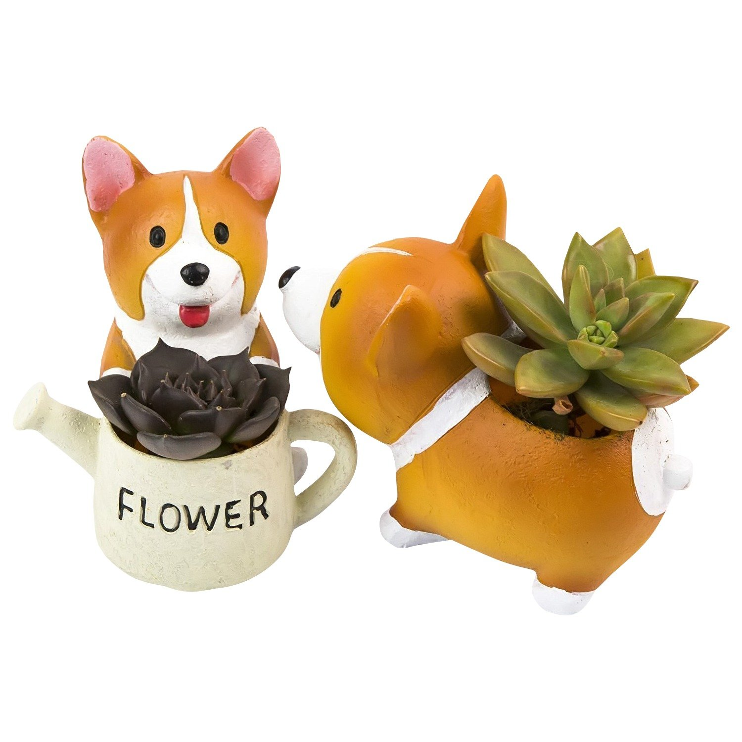 Corgi Dog Shaped Succulent Flower Pot - 2 In Set