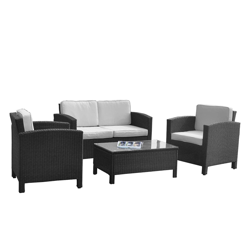 XINRO 13tlg. Deluxe Lounge Möbel Set Gruppe Garnitur Gartenmöbel Lounge Set Rattan Polyrattan Sitzgruppe - inkl. Lounge Sofa + Sessel + Tisch + Glasplatte + mit Kissen - In/Outdoor - handgeflochten - schwarz