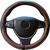 ZATOOTO Genuine Leather Car Steering Wheel Cover Luxury Breathable Antiskid (Brown)