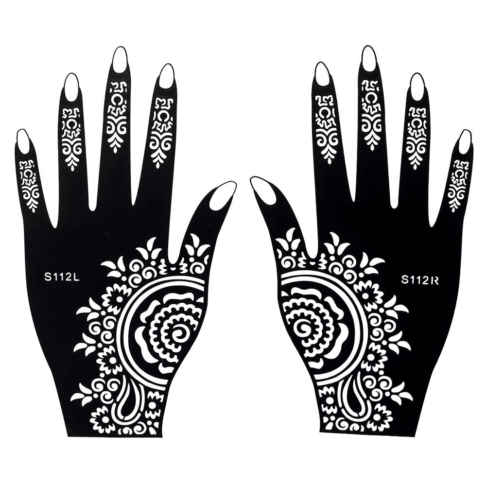 6 Hojas autoadhesivo Plantillas / Stencils de Mehndi tatuaje de la mano para el cuerpo Set P Tatuajes de henna- desechable para el tatuaje de henna, brillo tatuaje, los tatuajes del aerógrafo Beyond