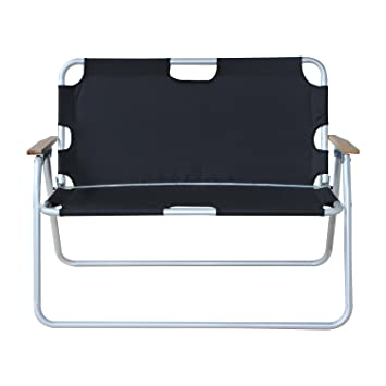 Beautiful Outsunny 2 Person Folding Aluminum Love Seat Camping Chair   Black